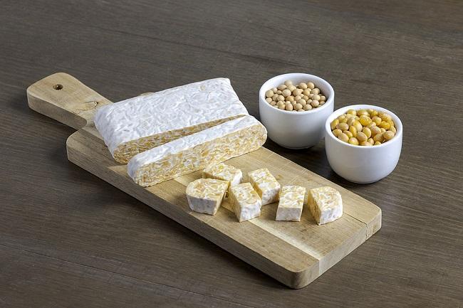 Fermented-Soybean-Tempeh-on-Wooden-Board